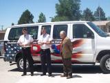 Wes Bush, Adjutant/DAV Transportation Coordinator; Orville Kline, Sr. Vice Commander; Michael Murphy, Director VAMC Grand Junction, CO.  Donation of van to the VA.