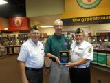 DAV Chapter 108 plaque awarded to Scott Dyer by Jerry Conway and Pete Schwarz.  We are thanking Golden Corral for their outstanding support during our fund drive and their patriotism.