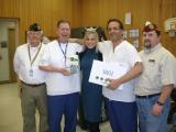 From Left to Right: Commander Dave Bolton, Mike Boyd, Miss Iowa Olivia Myers, Ed Bryja and VAVS Rep. Dave Thornburg donating a Wii system to the Des Moines VAMC Physical Therapy section, this game was donated by the DAV Department of Iowa.