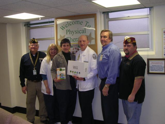 Chapter 20 Commander Dave Bolton and VAVS Deputy Dave Thornburg on behalf of the Department donated 1 wii game system for the Physical Therapy section on 2/11/2009.