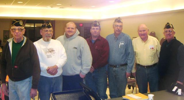 Left to right - R. Gagnon - Sgt at Arms, C. Lang - Chaplain, B McKinney Jr. - Vice Commander, R. McQuillan - Sr. Vice Commander, R. Fournier - Chapter Commander, G Burns - Past Dept Commander, R. Brodeur - Adjutant/Treasurer