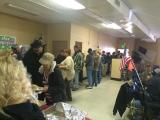 A large group of homeless veterans wait to be served by DAV Chapter # 1 members and guests at one of the annual Homeless Feeds.