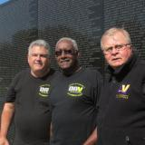 Pictured are Tom Cunningham, Vincent Williams and Jim Kaster. They were doing a little site seeing before attending the DAV Memorial dedication ceremony.