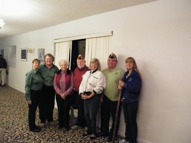 Chapter Cmdr Alice Thomsen, Adj Cathe Kujawski and Aux Pres Laurie Harvey pose with visiting DAV and DAVA Officers