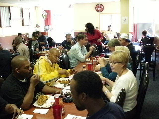 """Volunteer Crystal making sure everybody has what they want.  """"The food and comradeship was just wonderful,"""" said DAV Chapter No.8 Webmaster/Past 2007-2009 Commander Scott Havelka."""