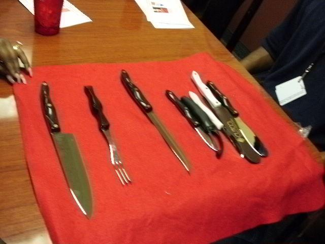 The Cutlery Set donated by Cut Co Inc. received by owner of Steel City Ribs Rander Thompson.