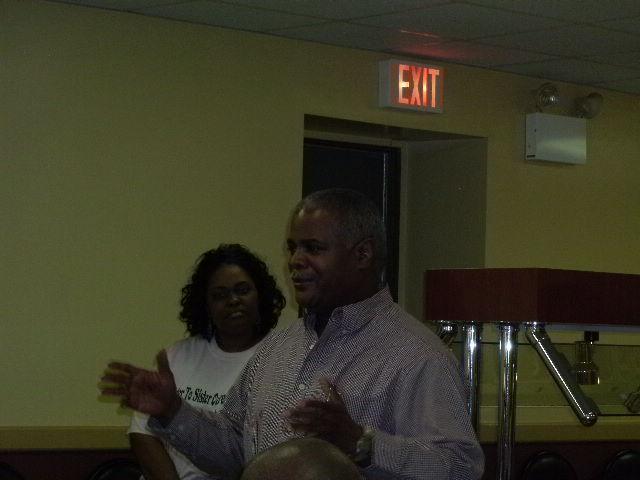 VA Veterans Affairs Volunteer Odies Bryant speaks at the event.