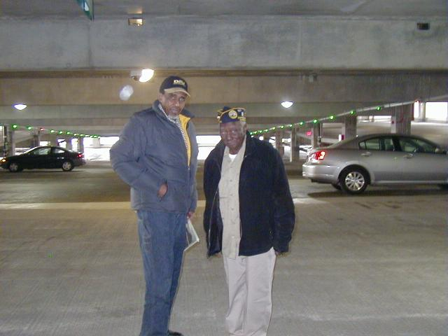 Chapter No.8's Senior Vice Commander Tyrone Morris and Chaplain Ollis Towns being dropped off after the Parade at the parking garage at the Oakland VAMC.