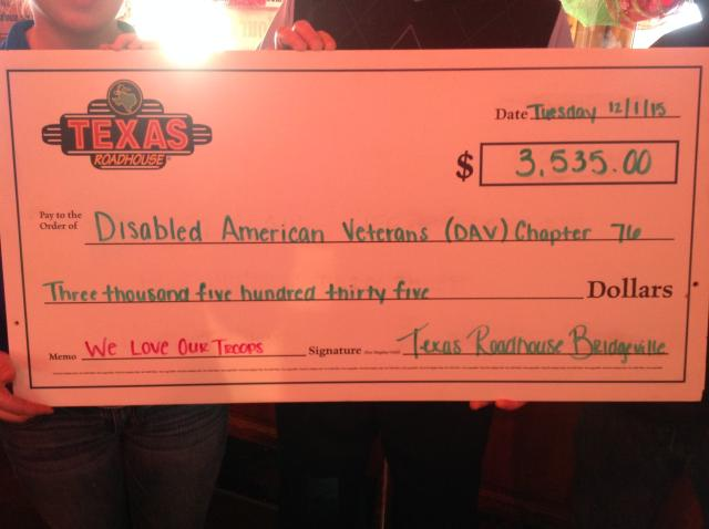 Staff at restaurant held fund raiser for DAV