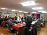 Thanks to the who always prepare such wonderful meals every month ...We are finishing up Christmas dinner and getting ready to start the meeting.