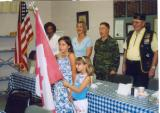 Storm and Autumn Johnson, member of the Junior Auxiliary of Chapter 147 posted the Canadian flag and sang the Canadian Anthem in honor of then BG.(now MG) Pete Devlin standing to right of Chapter Commander. The girls live in Almonte, Ontario, Canada .