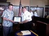 W.R. Hold Chapter 147 Commander recieves Certificate of Appreciation from District III Commander Britt Gordon for the Chapter hosting the District III Convention 27-29 April 2012 at the Shilo Hotel.