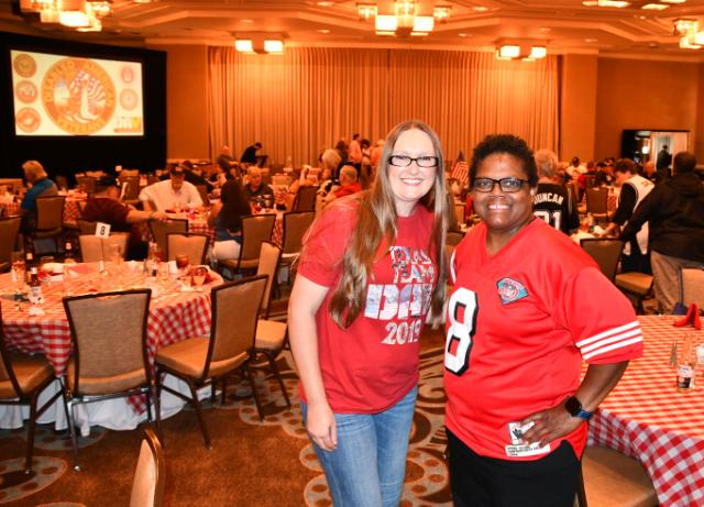 DAV Sr. Vice Commander Kayla Jones takes an opportunity to have a photo op with The Foundation Ambassador - Texas of The Women's Memorial Foundation Octavia Harris, U.S. Navy Retired