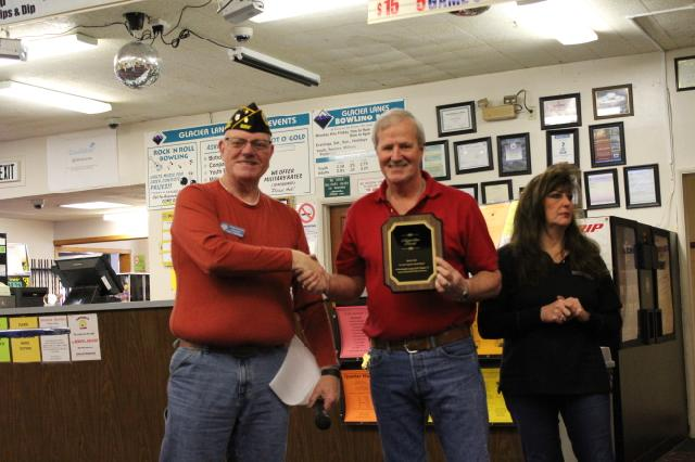 Presented owner Larry Miller with a plaque for assisting us in our day of bowling at his business Glacier Lanes and we raised over $400 for our veterans activities