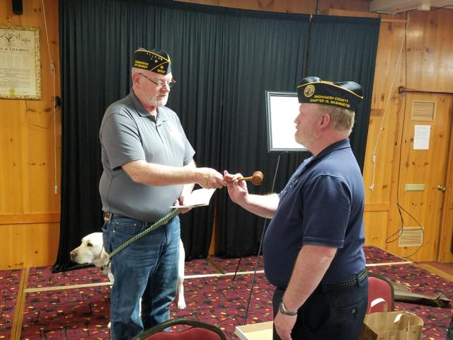 Past Commander of Chapter 13 passing the gavel to new Commander Rich Davies