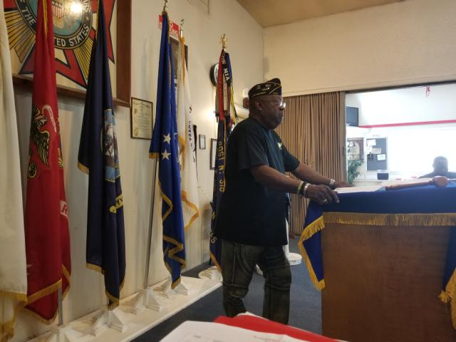 Chapter Commander Clarence Forrester presides at the monthly meeting of Washington Chapter #41 on August 4, 2108.