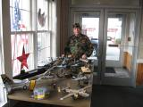 Lenny Kitson displays some of his models of represent WWI thru Current wars.
