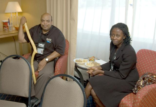DAV NSOs DJ Greer and Afua Whiteside relax in Chapter 60's Hospitality Suite.