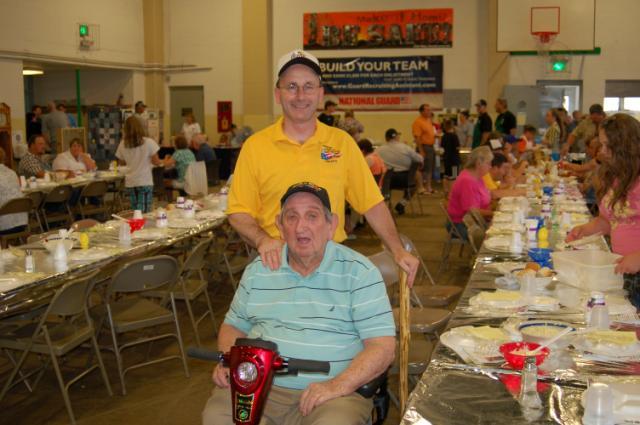 Commander Inns and WW II veteran Wayne Zehner.  Mr. Zehner is a charter member of Chapter 42.