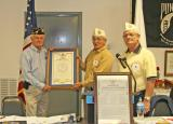 Sr. Vice Commander Richard Polk & Commander Dean Travis present charter to New DAV Chapter 68 - Veteran City in Branson, MO. Congratulations!